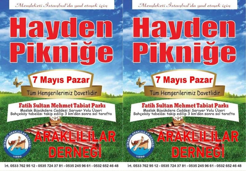 İstanbul'da 5.Araklı Pikniği Mayısta