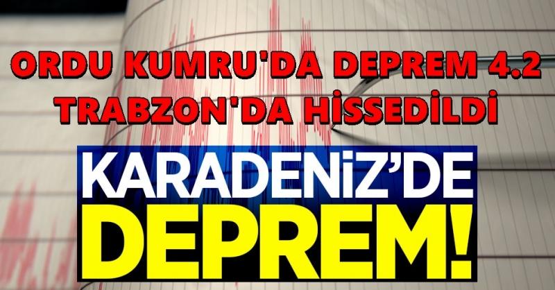 Ordu Kumru'da 4,2 Büyüklüğünde Deprem