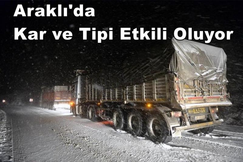 Araklı'da Kar ve Tipi Etkili Oluyor
