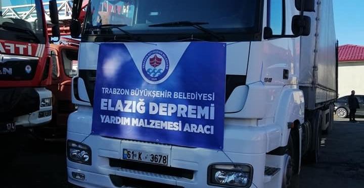 Trabzon'dan Elazığ Deprem Bölgesine Yardım